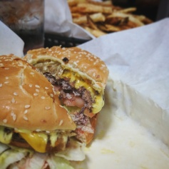 Famous burger at Stanich's in Portland, Oregon.