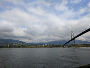 View of the bridge from the bike trail in Vancouver.