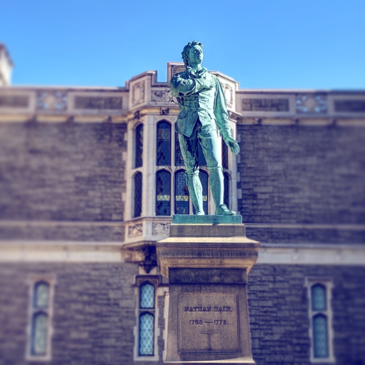 A very attractive statue of Nathaniel Hale in Hartford Connecticut.