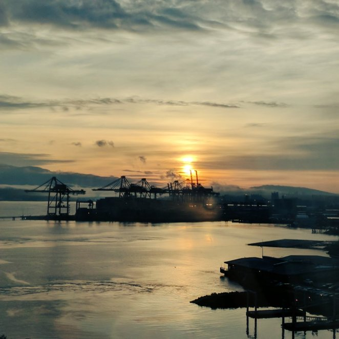 Sunset view from my hotel in Vancouver.